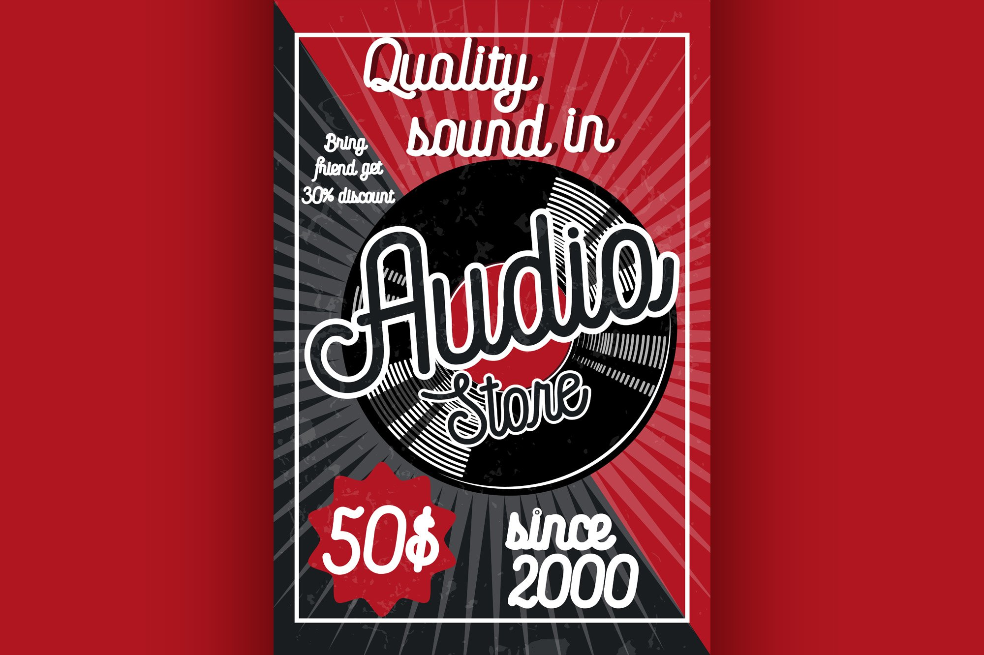 Vintage audio store poster example image 1