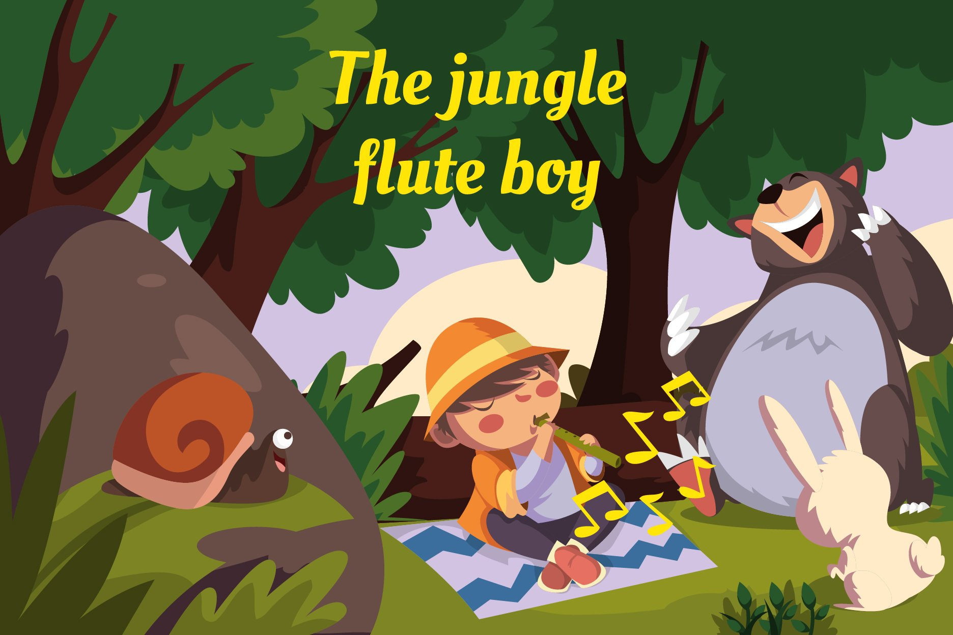 The jungle flute boy-vector illustration example image 1
