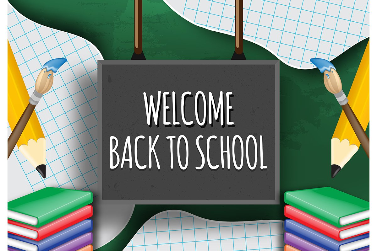 Hand writing welcome back to school on a blackboard example image 1