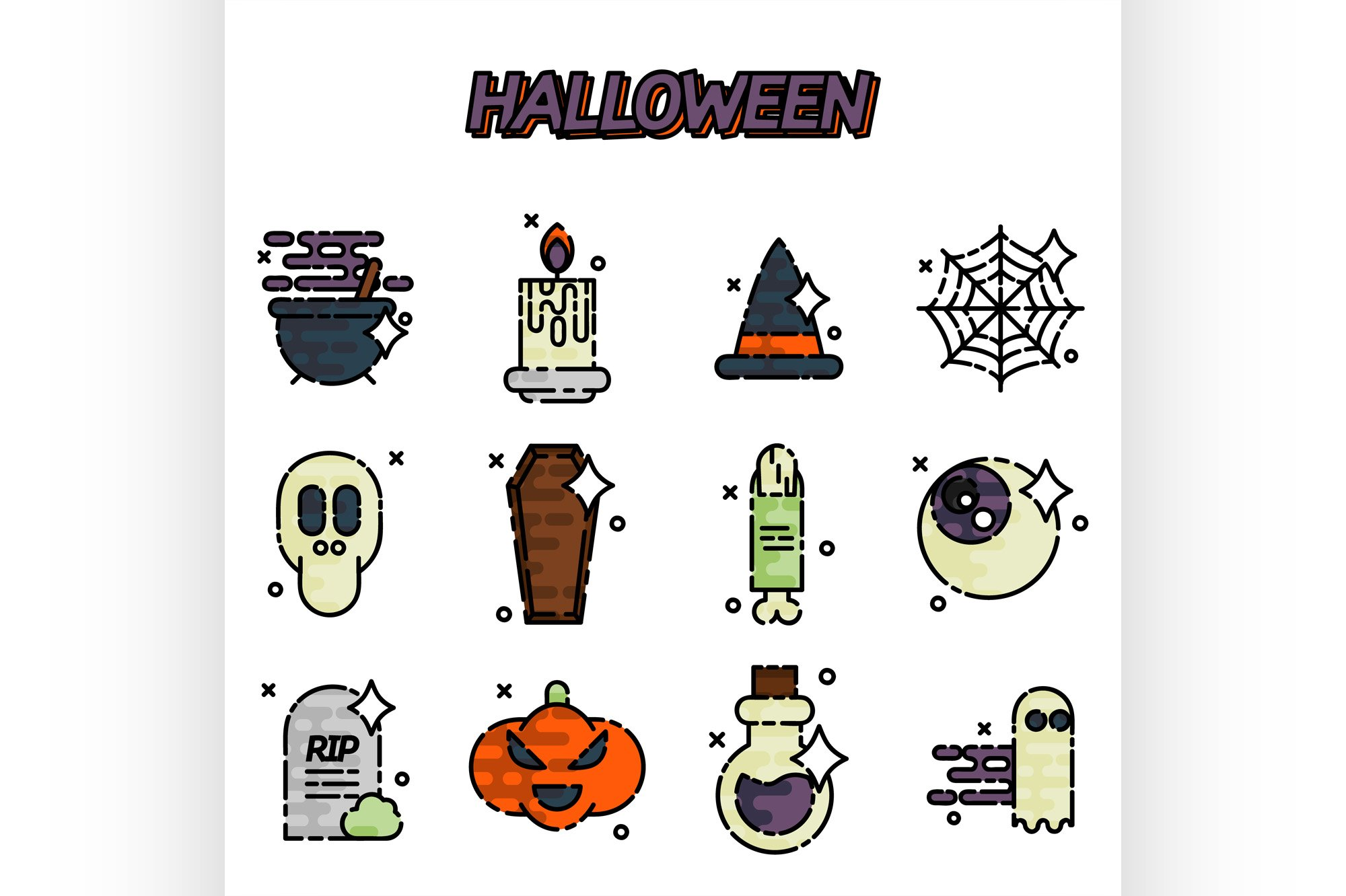 Halloween flat icons set example image 1