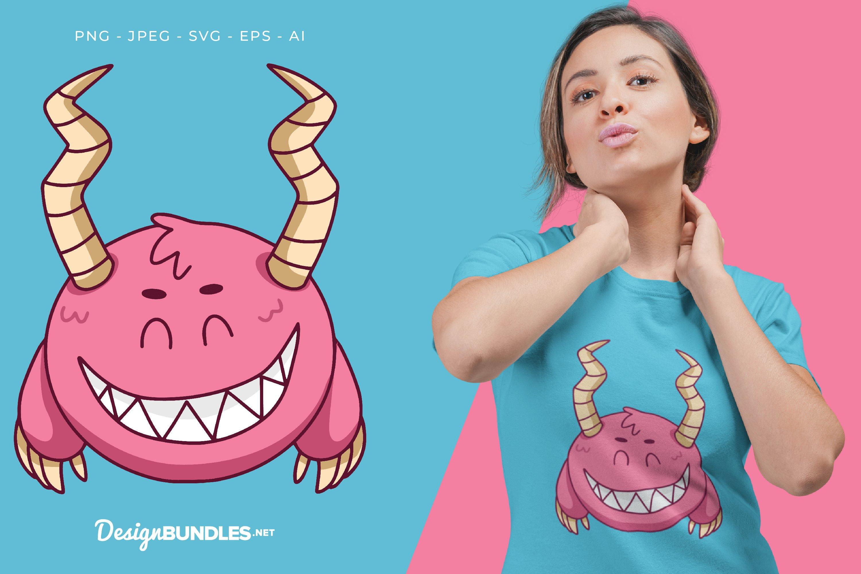 Smiling Pink Horned Monster Vector Illustration For T-Shirt example image 1