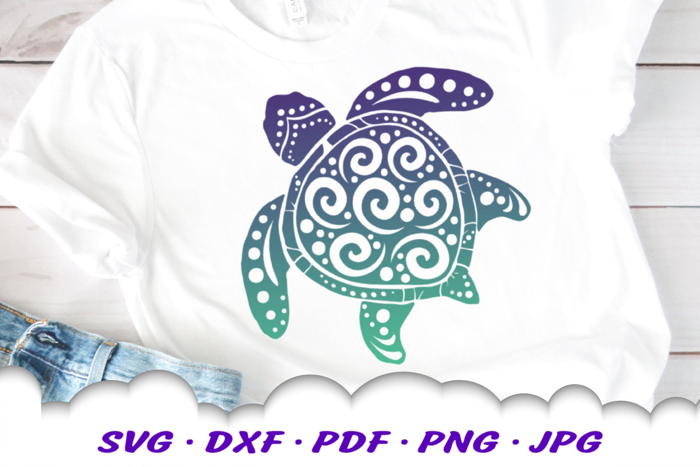 Spiral Sea Turtle SVG DXF Cut Files Bundle example image 3