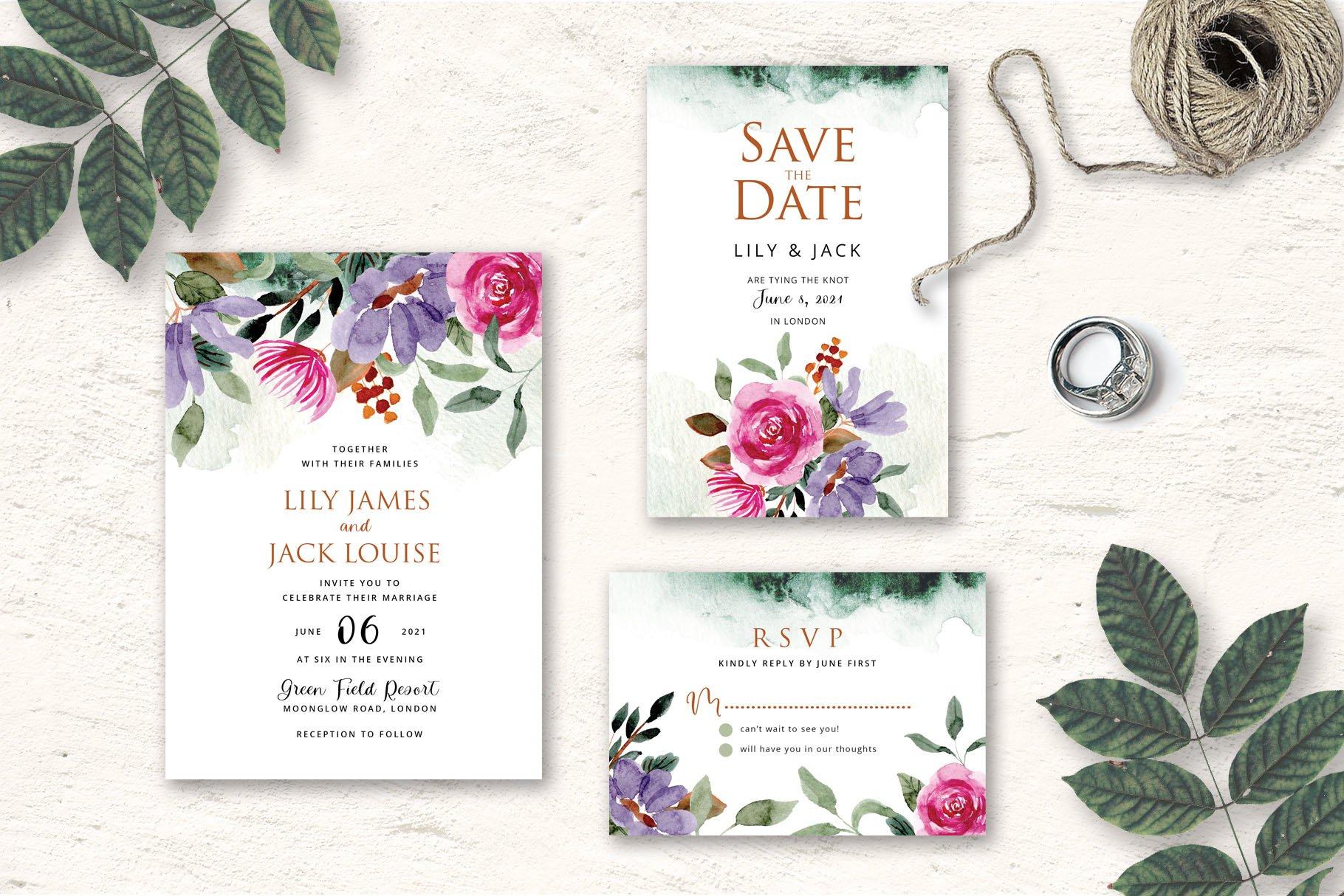 Rustic Floral Wedding Invitation Set example image 3
