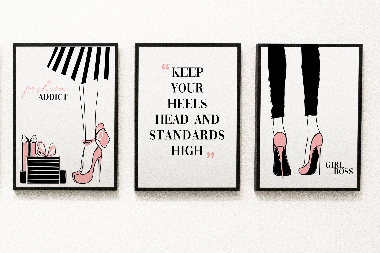 Fashion set wall art, printable wall art, minimalist art example image 1