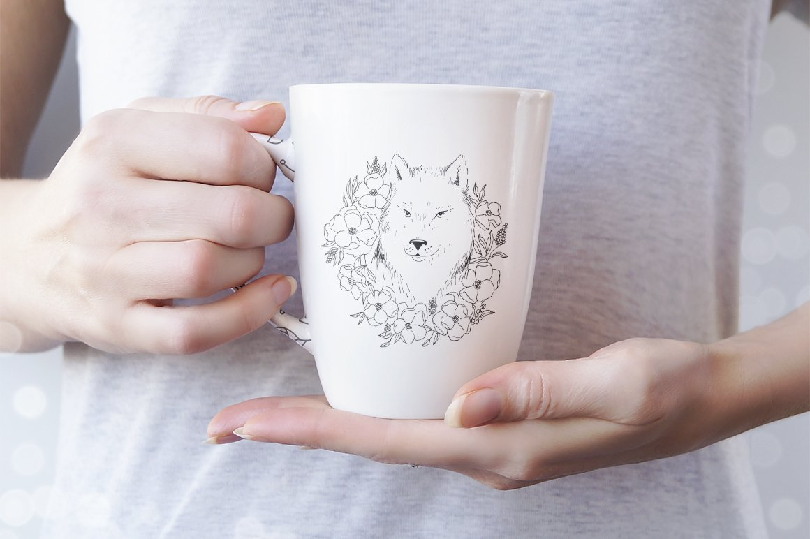 Wolf SVG / Wolf illustration / Wolf with flowers example image 4
