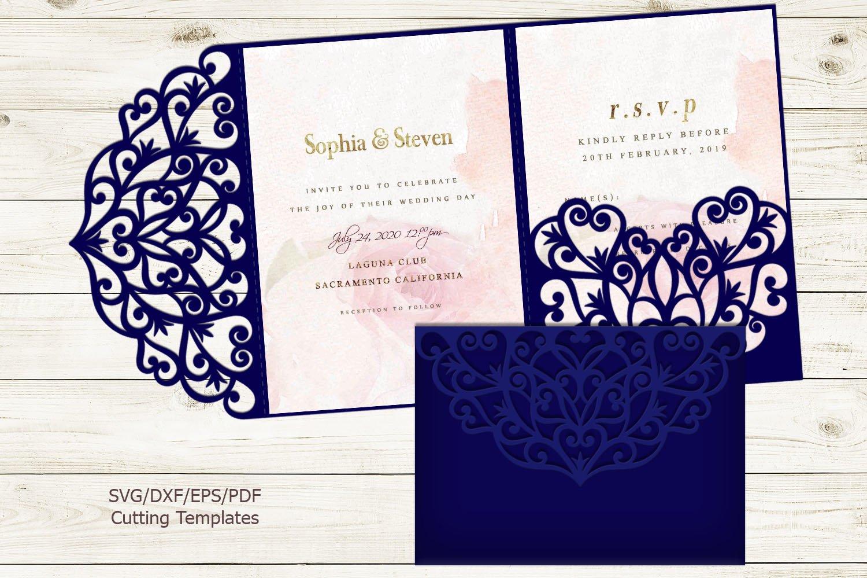 Trifold wedding invitation svg dxf pdf laser cut cricut file (231085) | Paper  Cutting | Design Bundles