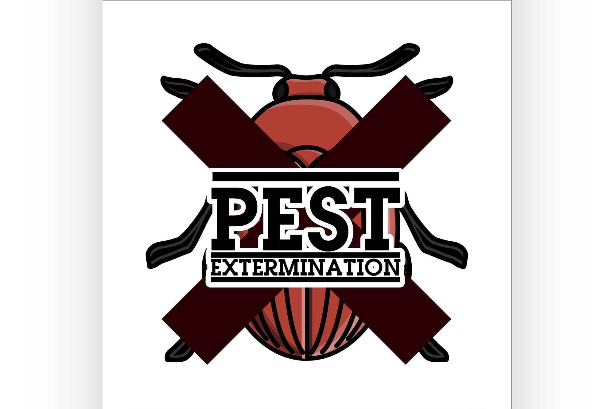 Color vintage pest extermination emblem example image 1