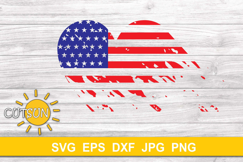 USA Flag distressed heart cut file example image 5
