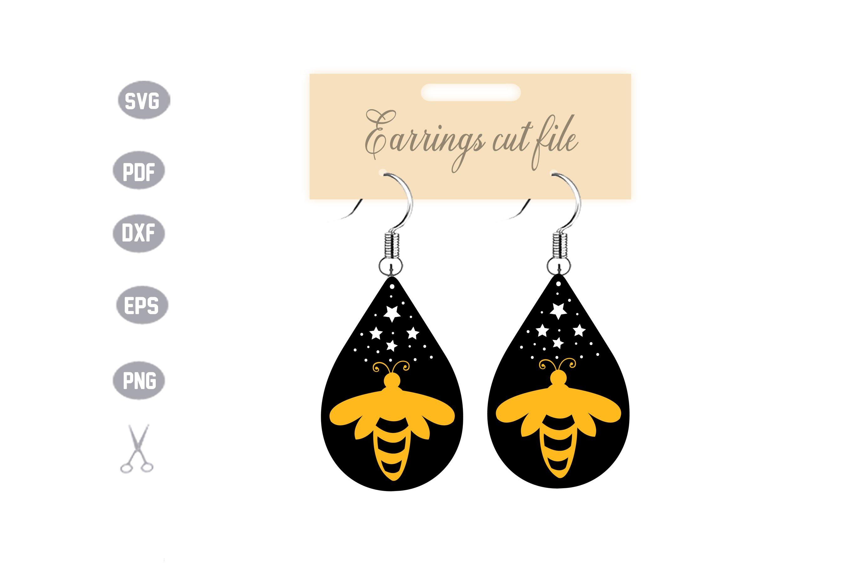 Bee Earrings SVG example image 1