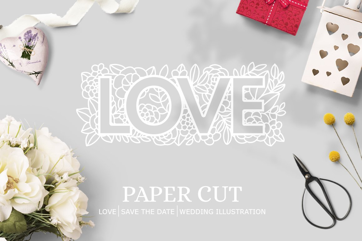 Paper cut / Love / Wedding Illustration / Save the Date example image 1