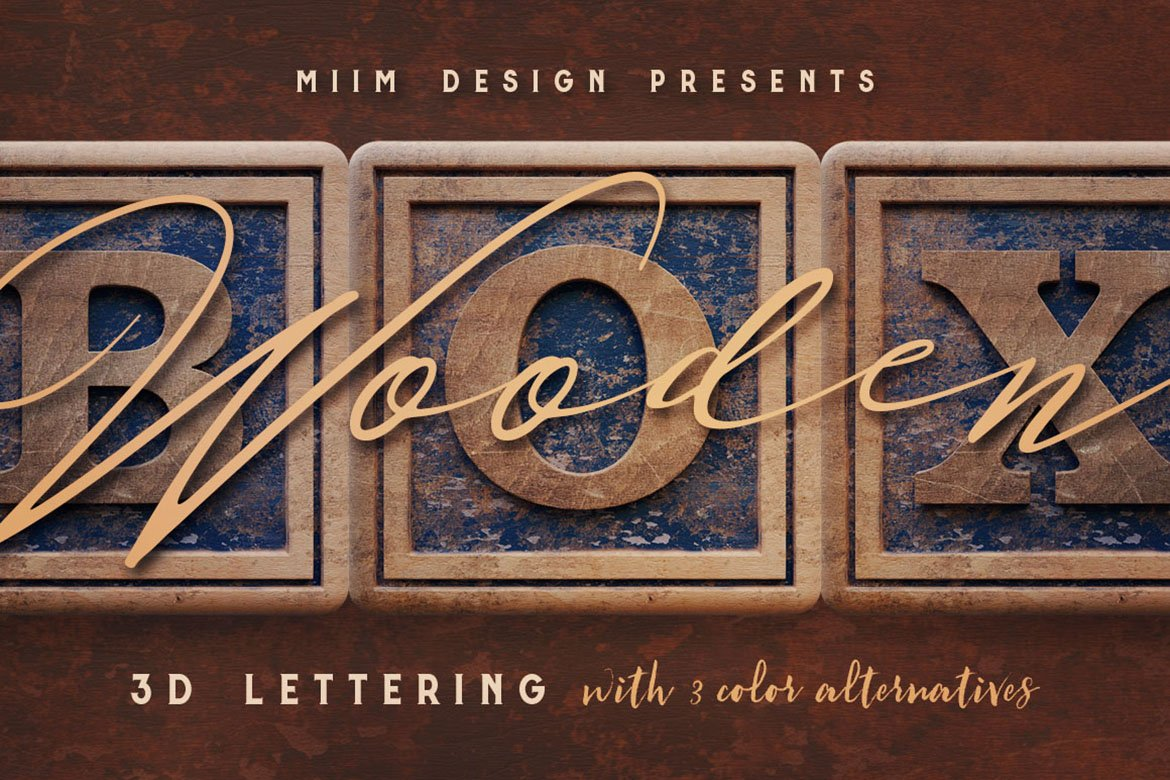 Vintage Wooden Box - 3D Lettering example image 1