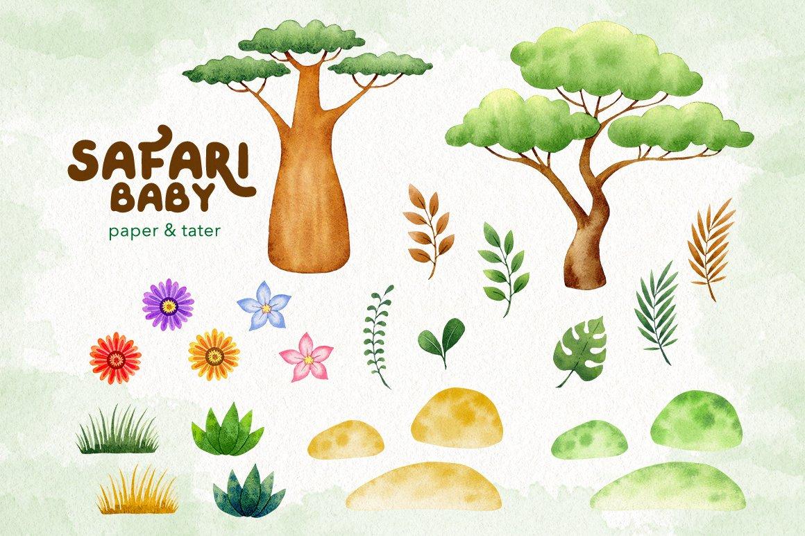 Watercolor Safari Baby Animals Clipart Graphics example image 2