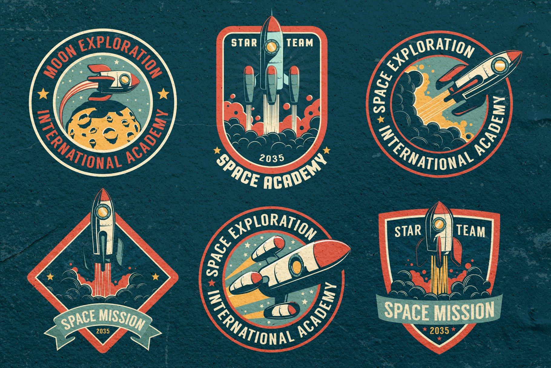 Space Rocket Retro Badge example image 5
