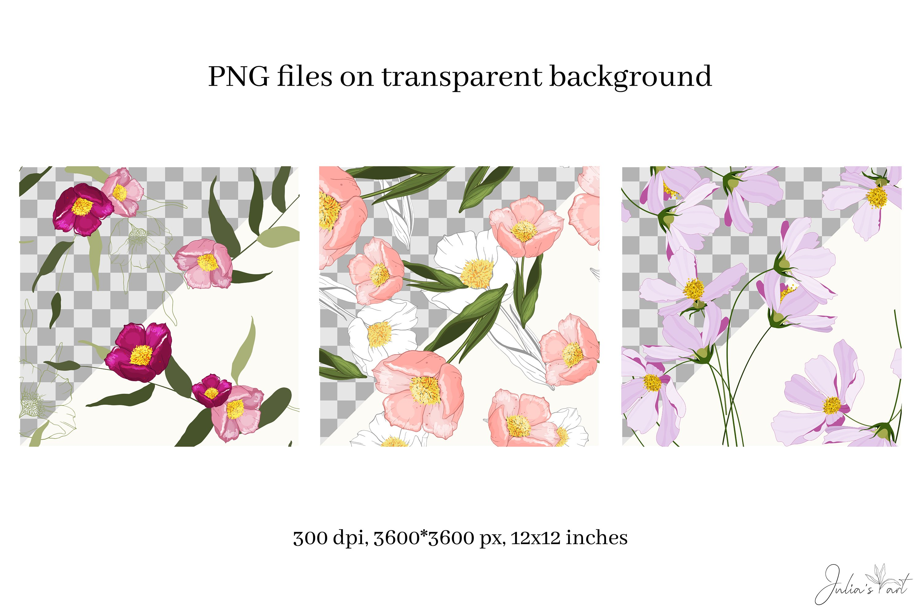 Pink flowers vector patterns - Ai, EPS, JPG, PNG example image 3