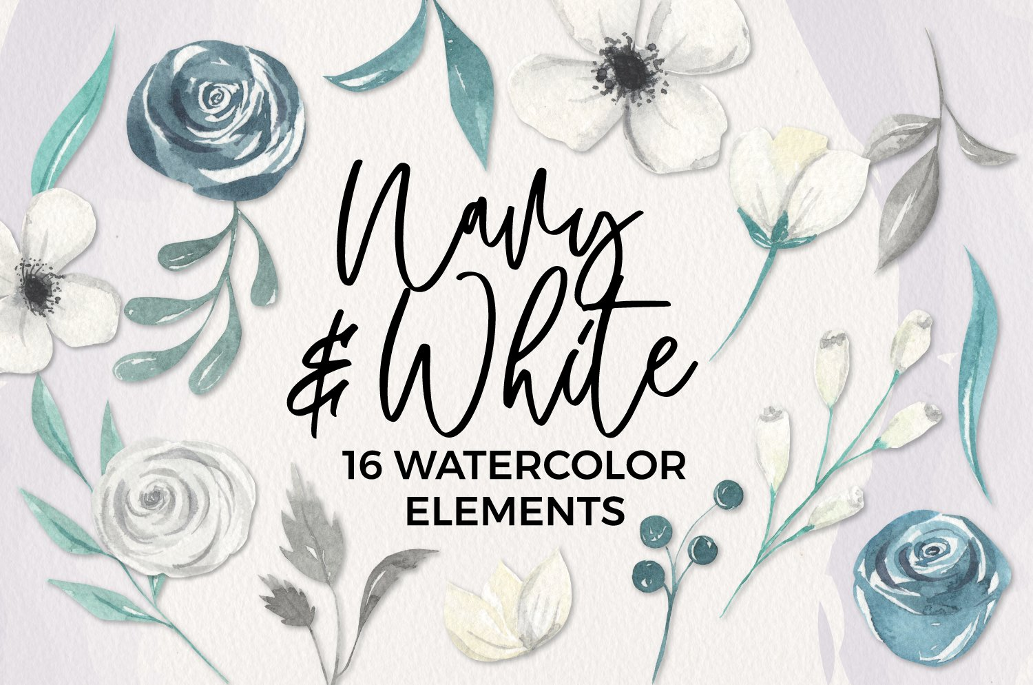 Navy & White Floral Watercolor Elements 16 Painted Blue example image 1