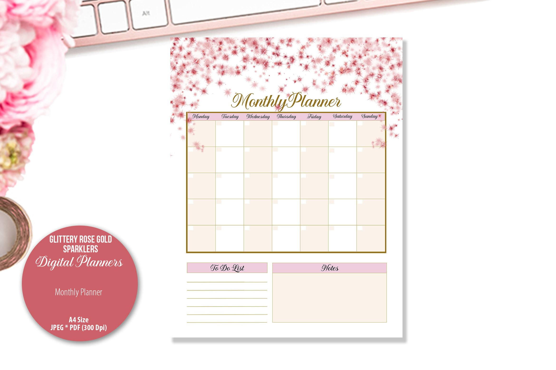 Glittery Rose Gold Sparklers Digital Planner example image 4
