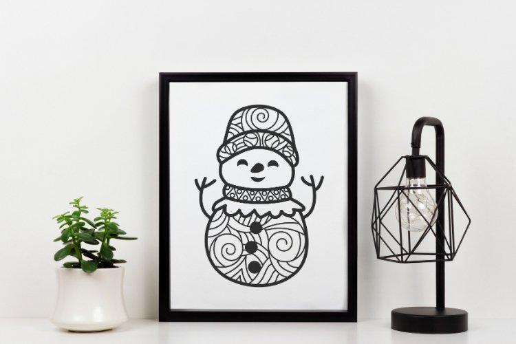 Snowman Doodle Mandala SVG example image 3