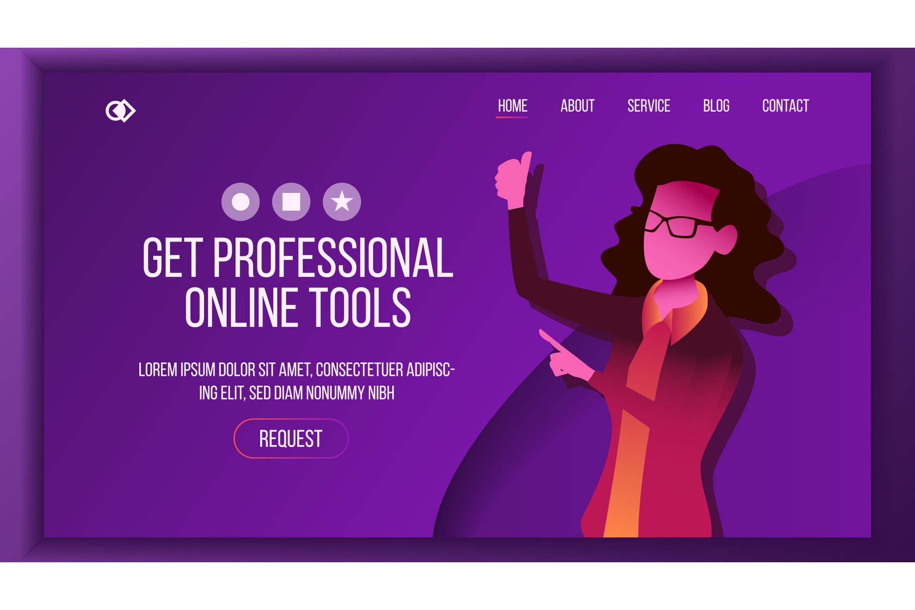 Design Tools Landing Page Vector. Woman. Main Website Page example image 1
