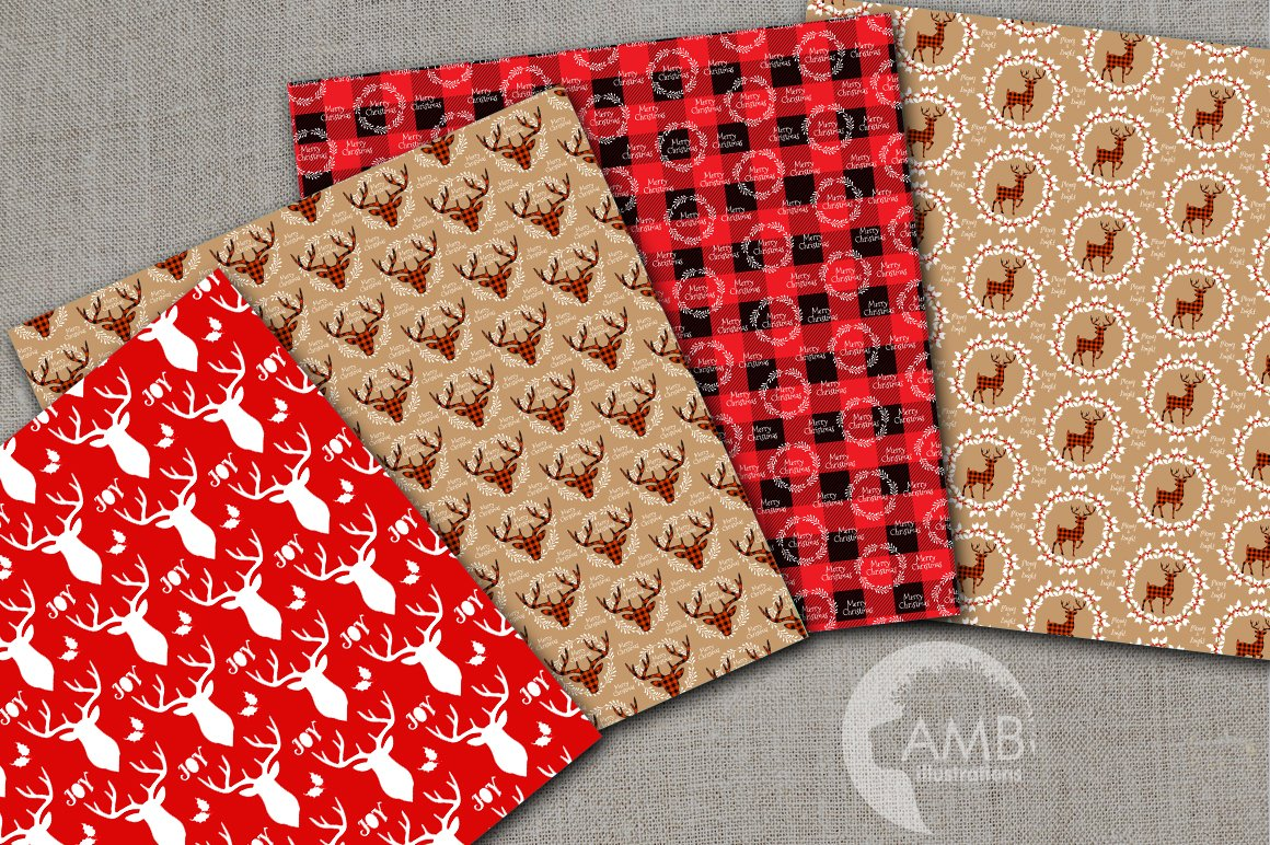 Christmas Cabin Papers, Rustic Cabin Patterns AMB-2107 example image 2
