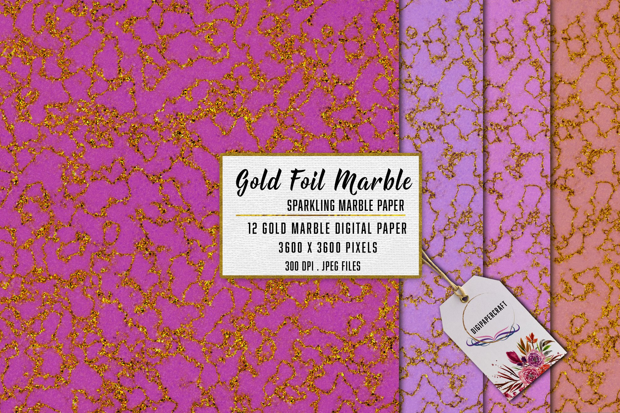 Gold Marble digital paper, Sparkling marble backgrounds example image 5
