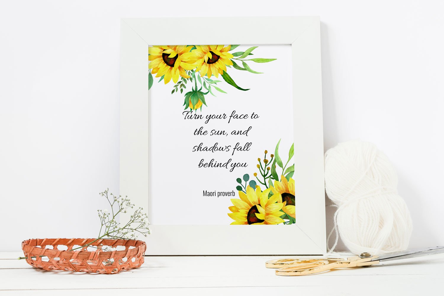 Sunflowers watercolor clipart, bouquets and frames example image 5
