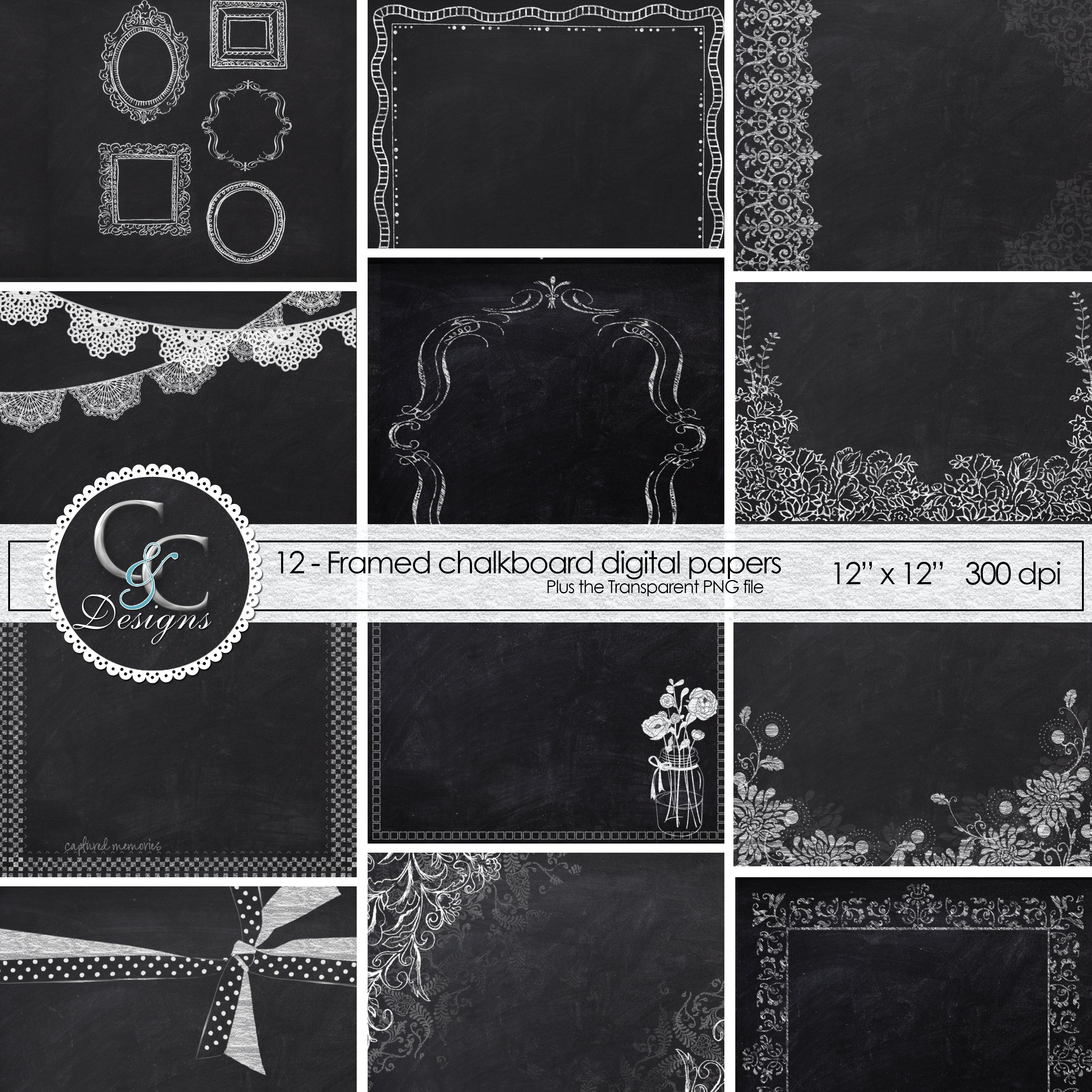 Chalkboard Frame Papers 12 Digital Paper Pack 97752 Backgrounds Design Bundles