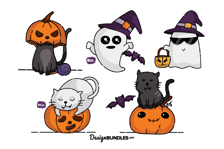 Halloween Cat illustrations example image 1