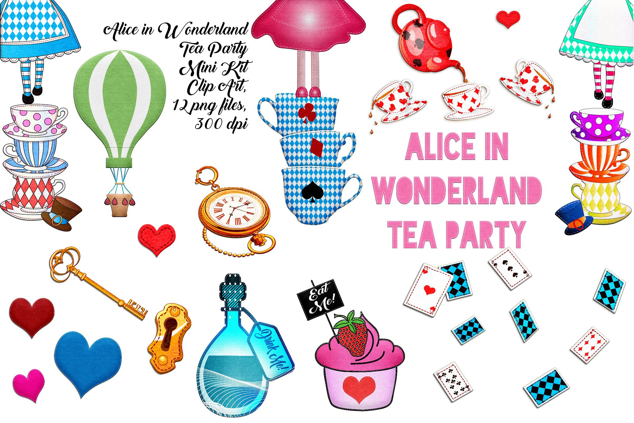 300 dpi Cute Alice in Wonderland Digital Clipart stickers: Instant Download PNG file graphics characters