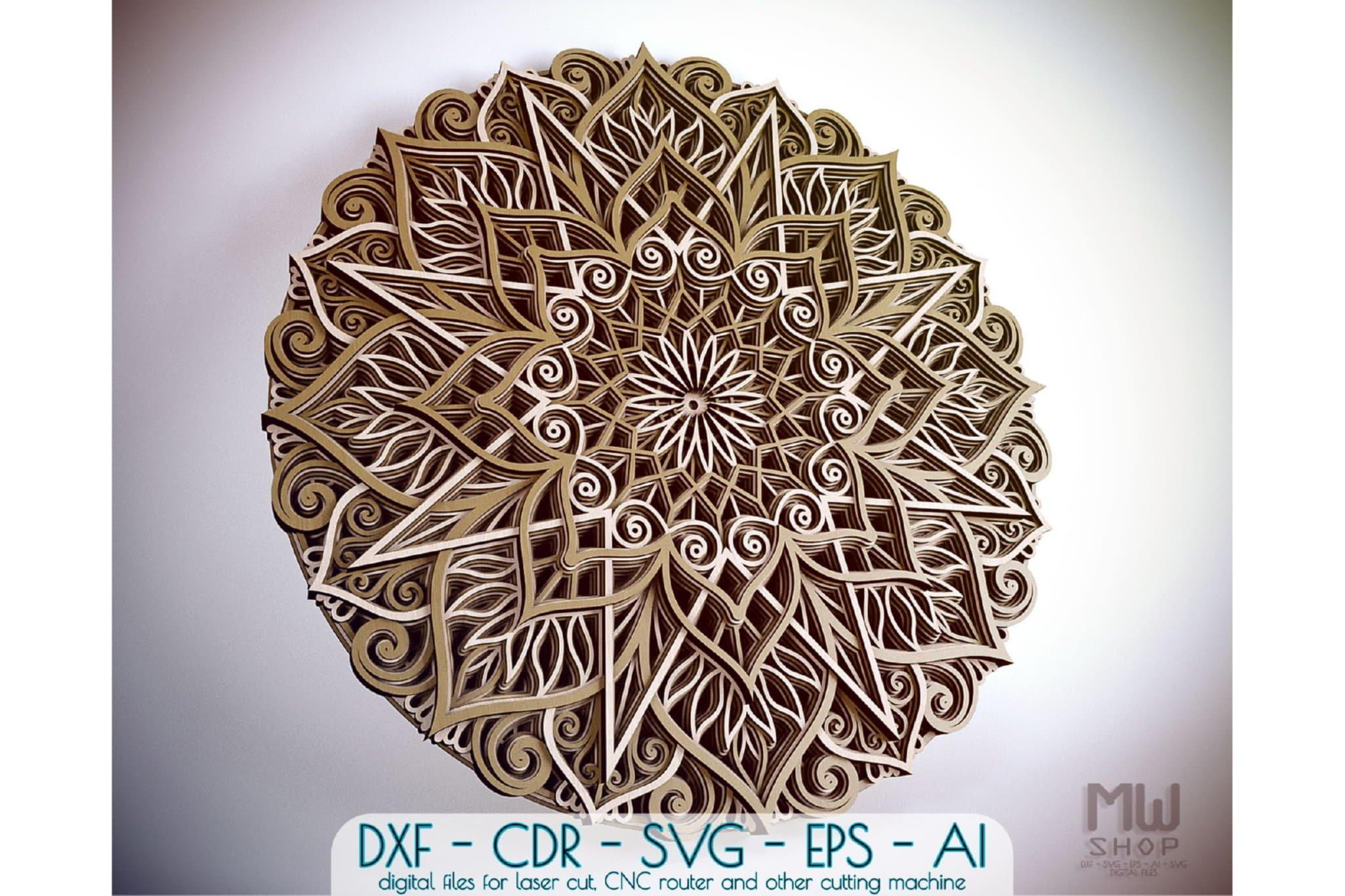 M89 - Mandala DXF Laser Cut Pattern, Flower mandala pattern example image 1