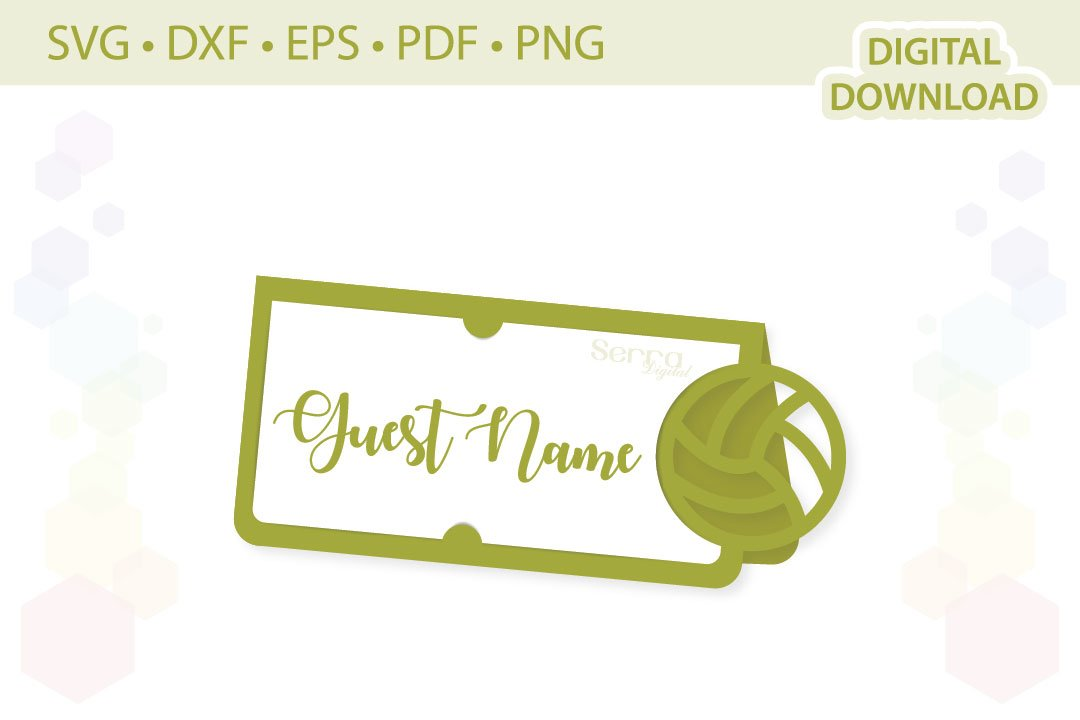 Volleyball Place Card Cut File Svg Dxf Eps Pdf Png 548189 Paper Cutting Design Bundles