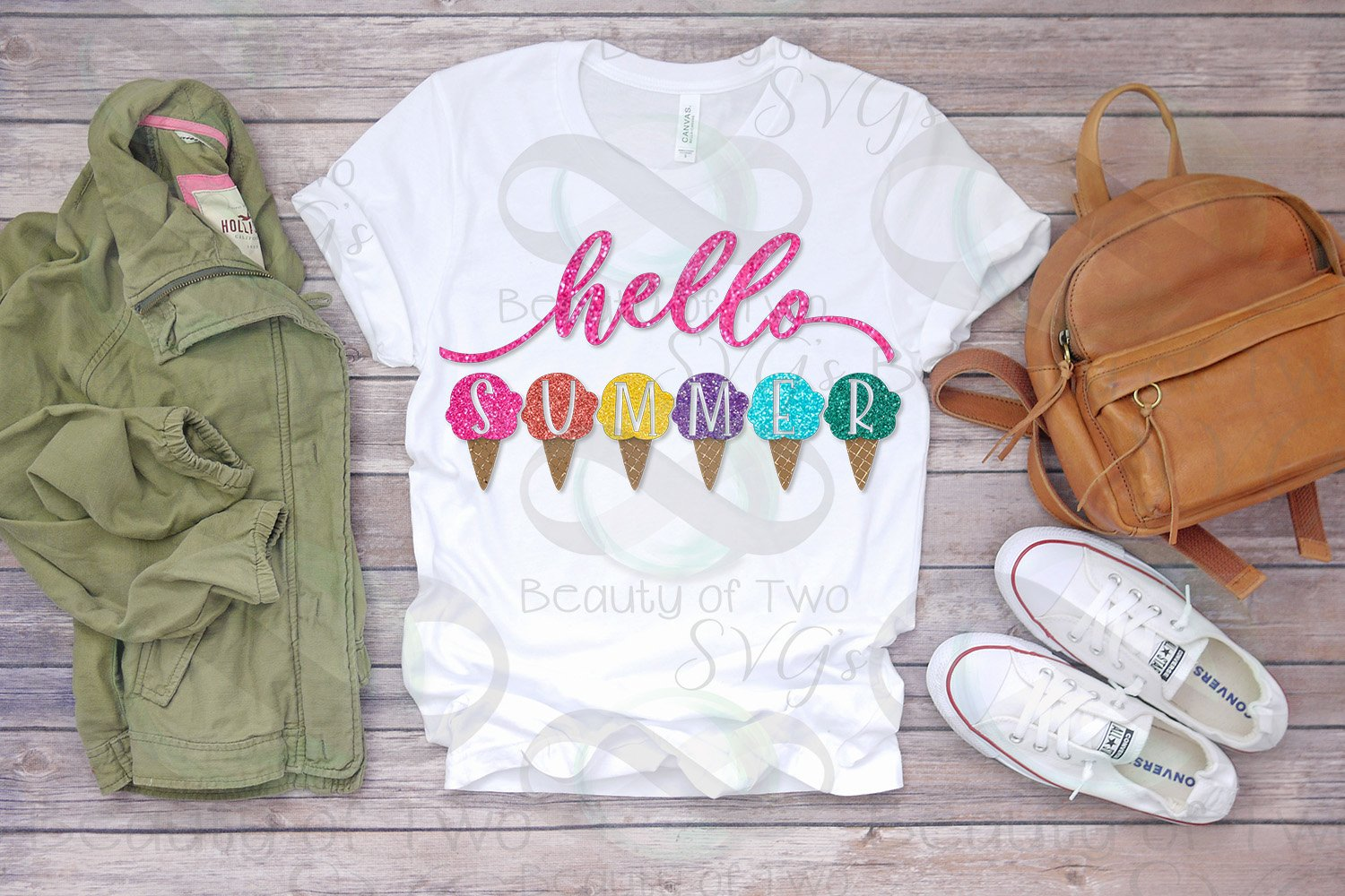 Hello Summer Ice Cream Sublimation Design Summer png 300 dpi example image 2