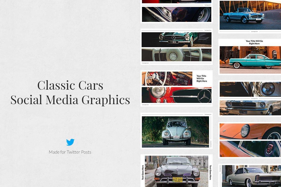 Download Classic Cars Twitter Posts 226092 Web Elements Design Bundles
