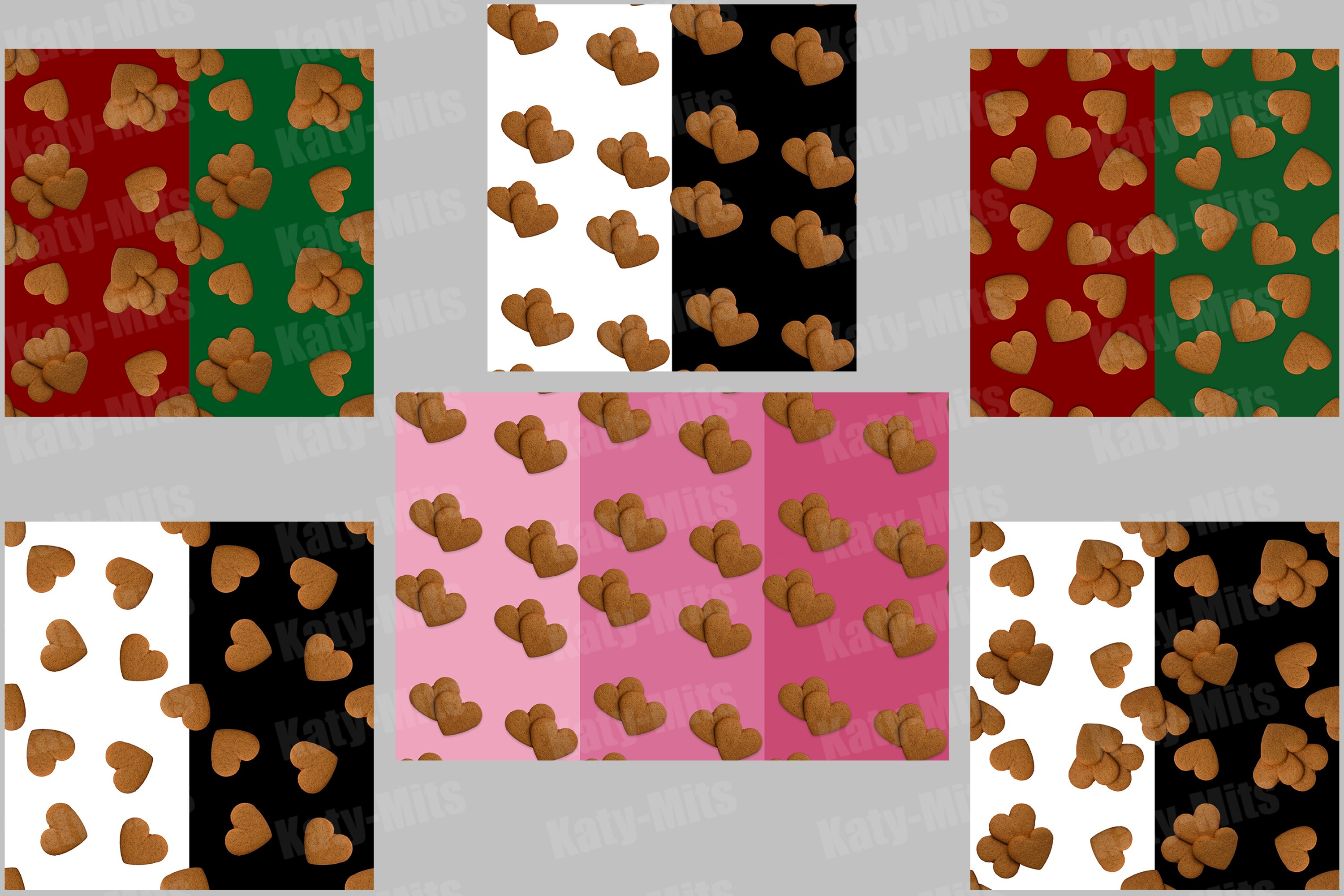 6 seamless patterns of heart shaped cookies example image 1