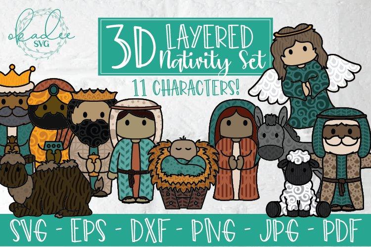 3d Nativity Svg Layered Christmas Cut File Baby Jesus Dxf 883347 Paper Cutting Design Bundles