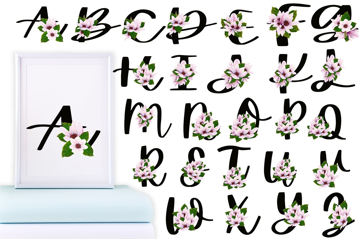 Black Magnolia Alphabet and Number example image 3