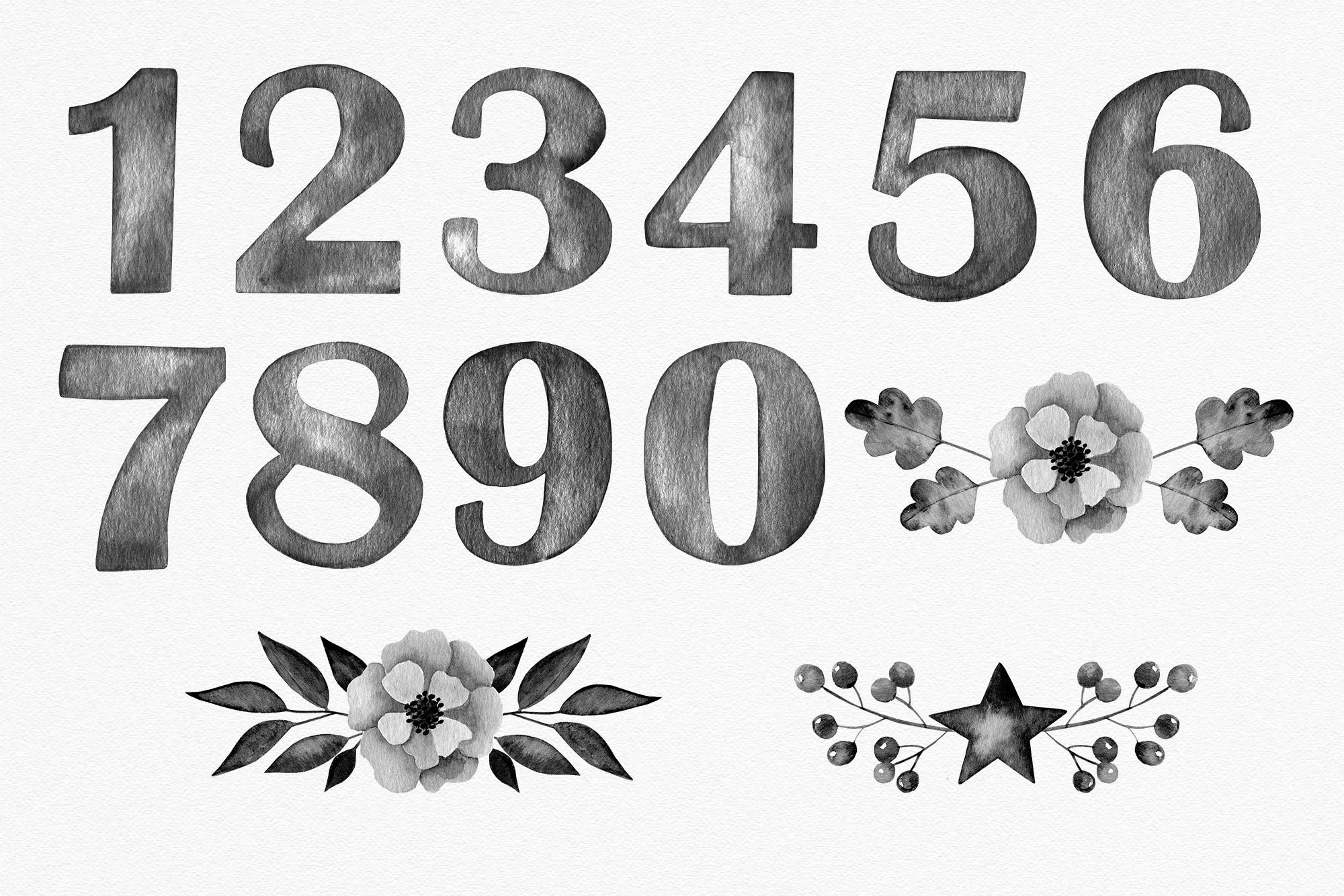 Black watercolor number cliparts with flower arrangements example image 4
