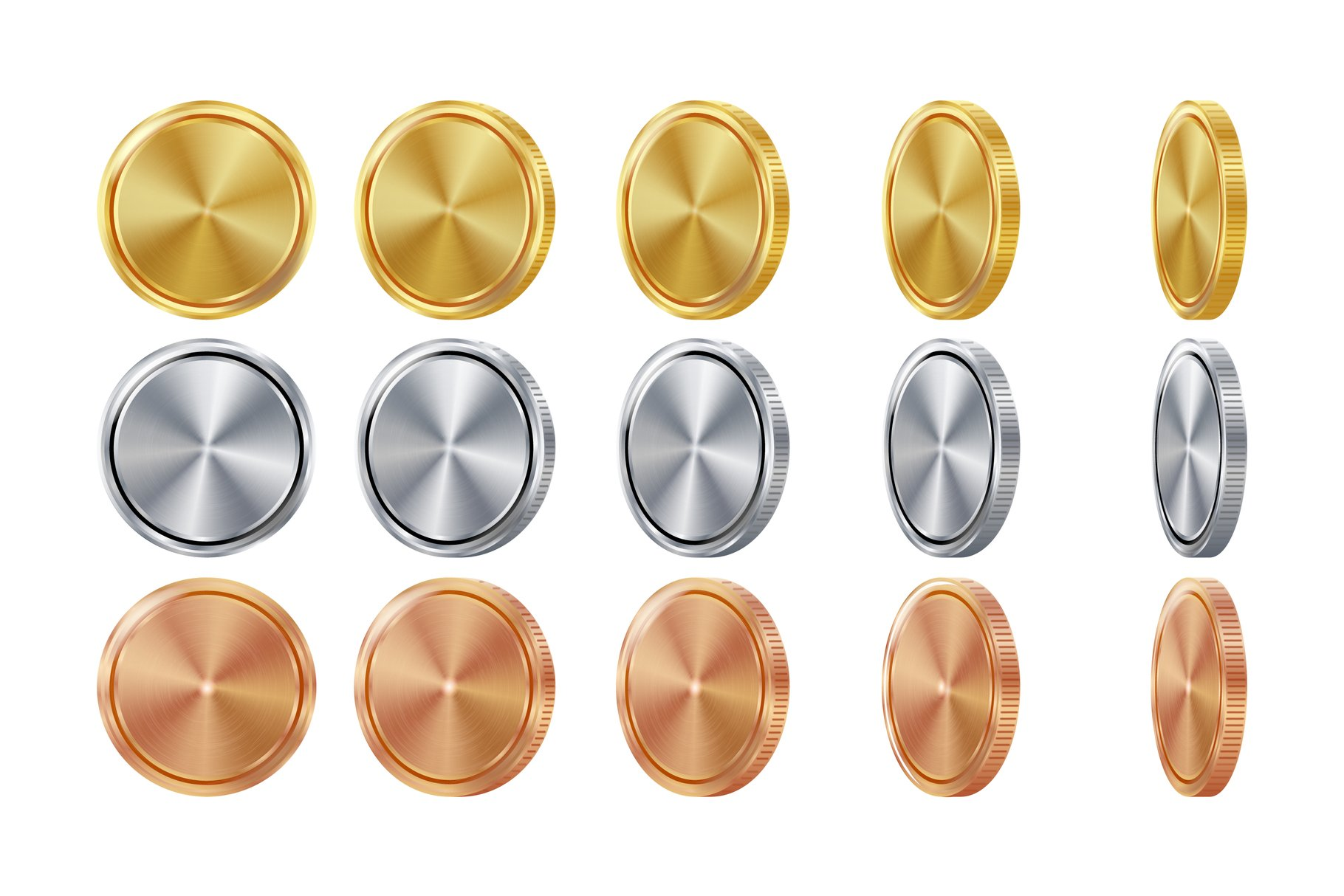 Empty 3D Gold, Silver, Bronze Coins Vector example image 1
