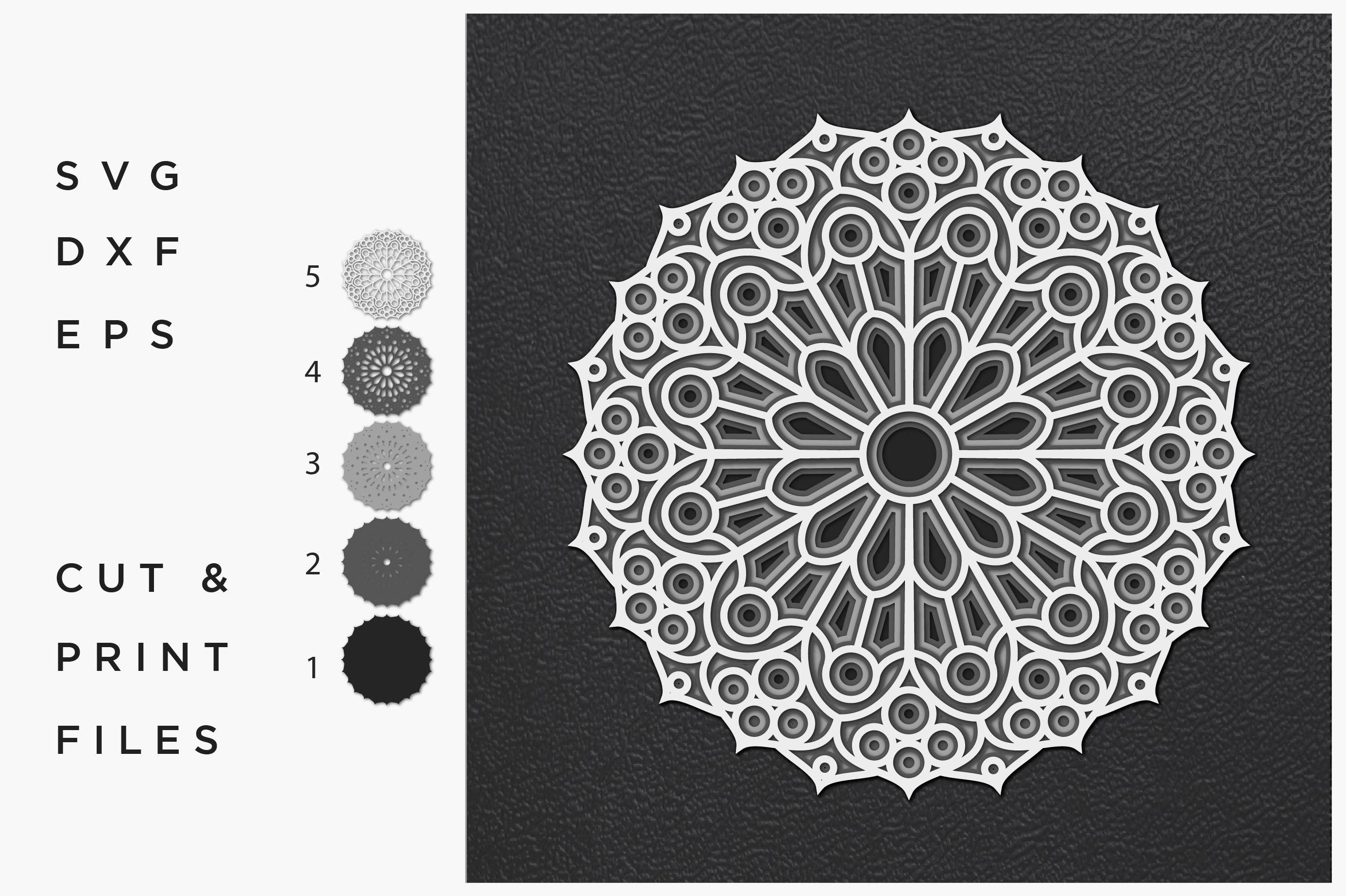 Download Mandala SVG, Cut file Mandala, Cut multilayer Mandala, 3D ...