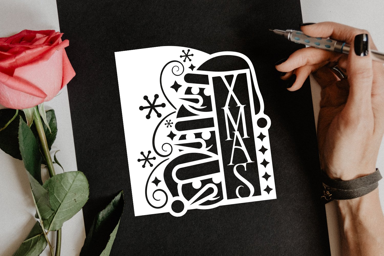 Papercut Christmas Snowman Card Cover, Snowflake, Spiral example image 4