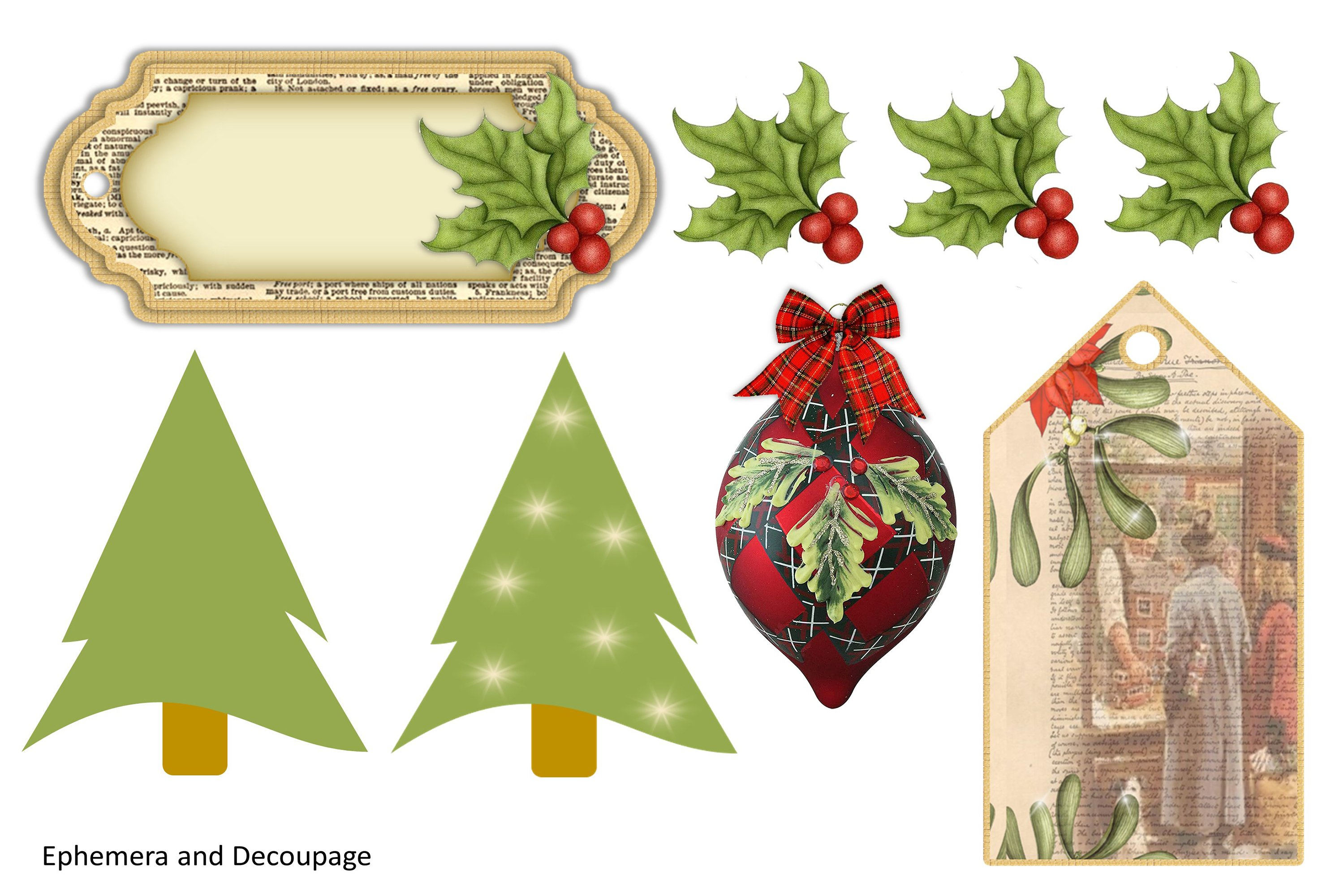 Victorian Christmas Backgrounds and Clipart JPEG PNG PDF example image 12