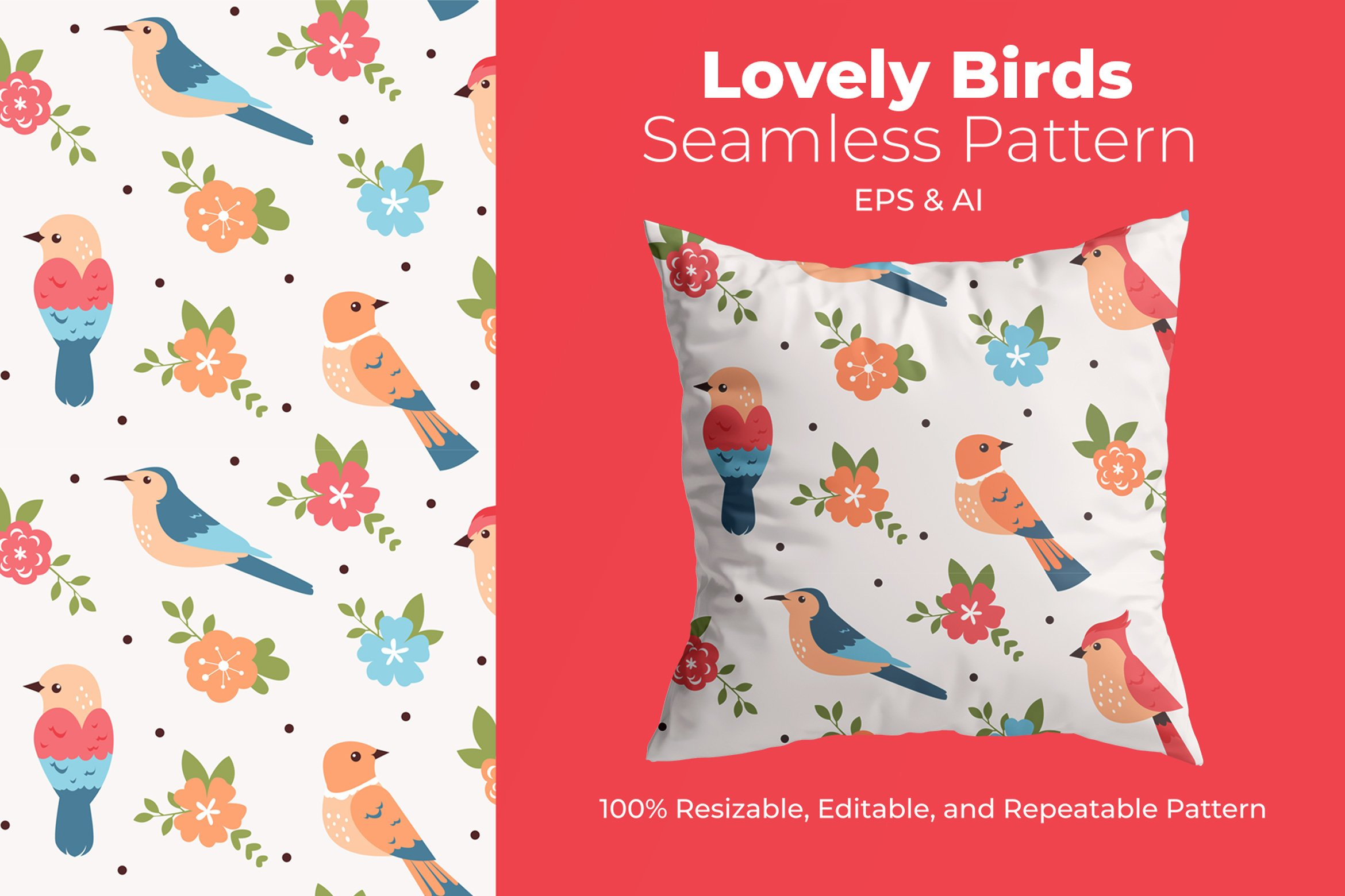 Lovely Birds - Pattern example image 1