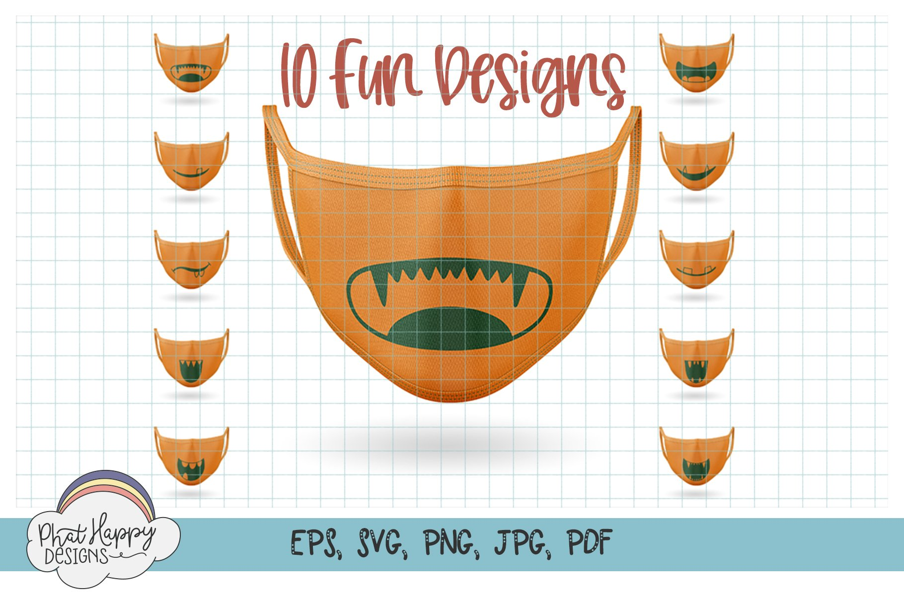 10 Monster Faces for Masks - SVG Cut Files example image 1