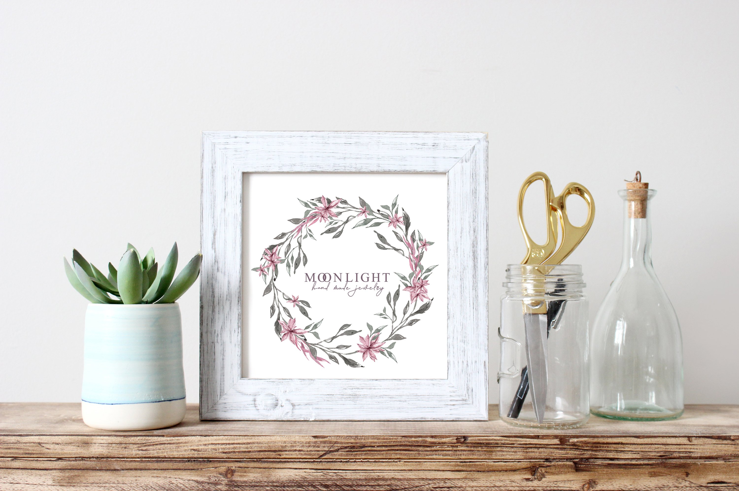 Watercolor floral wreath clipart example image 3
