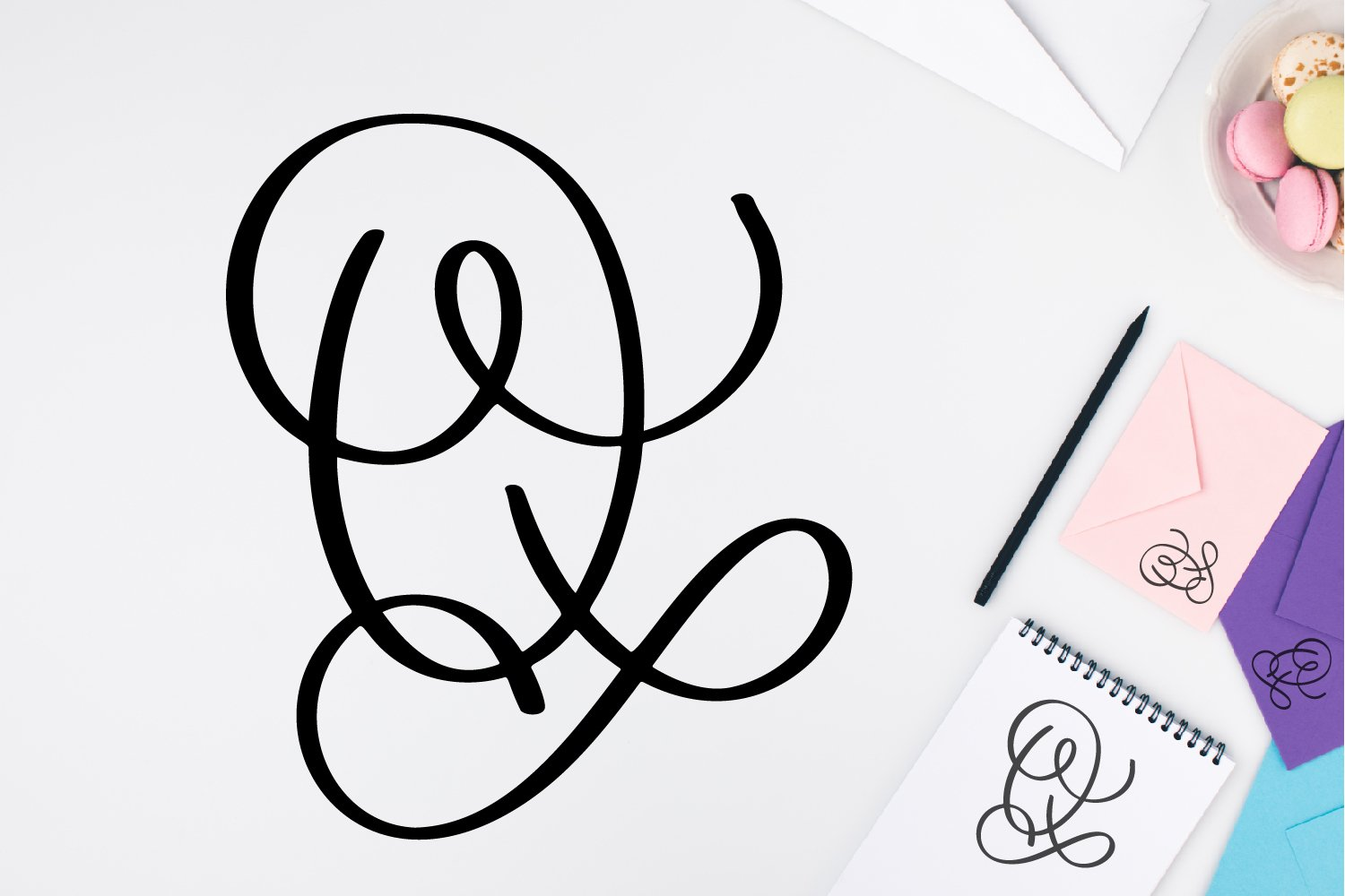 Monogram Letters Font - Swoosh-y Beautiful Hand Lettered example image 2