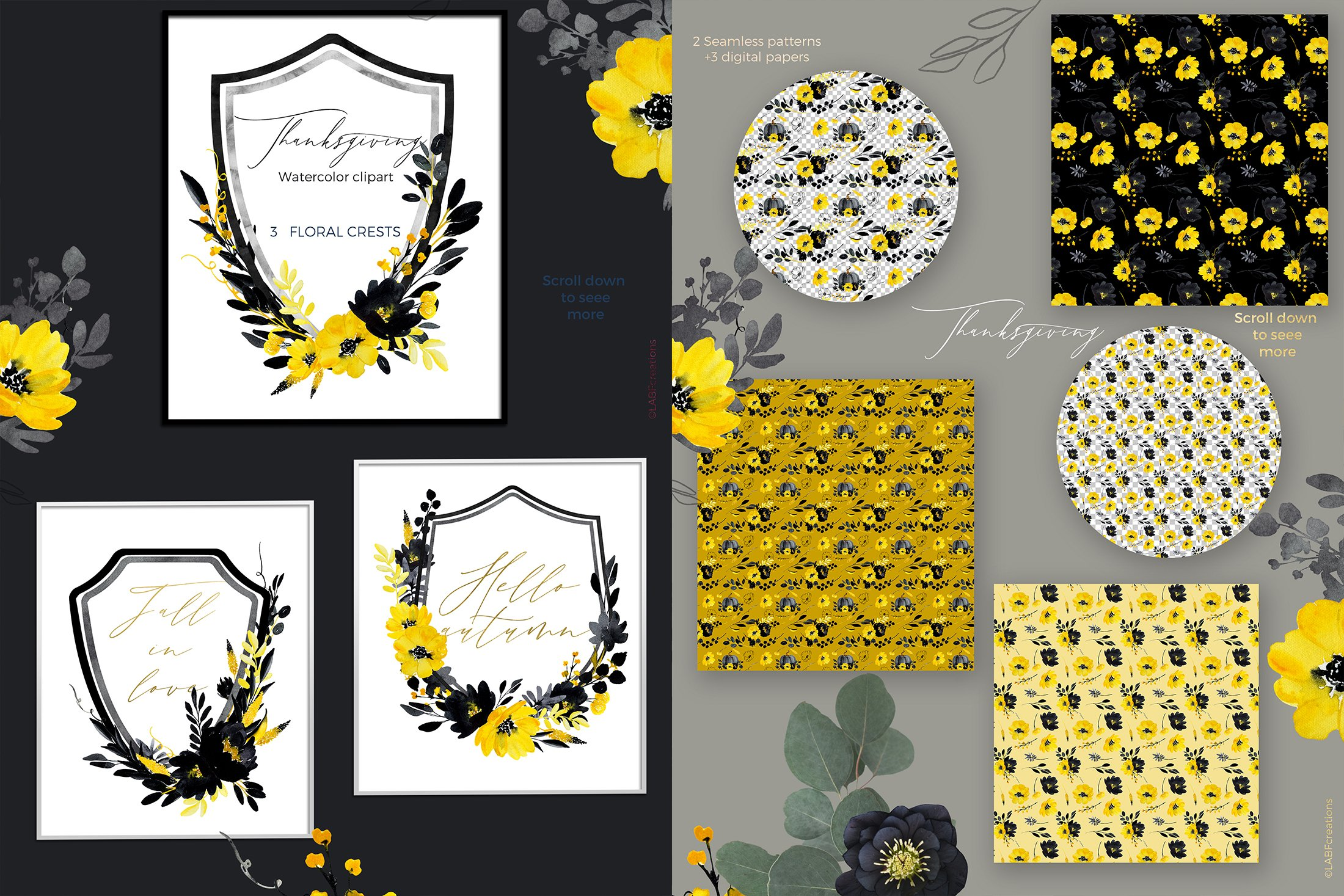 Thanksgiving. Black & Yellow Watercolor flowers example image 3