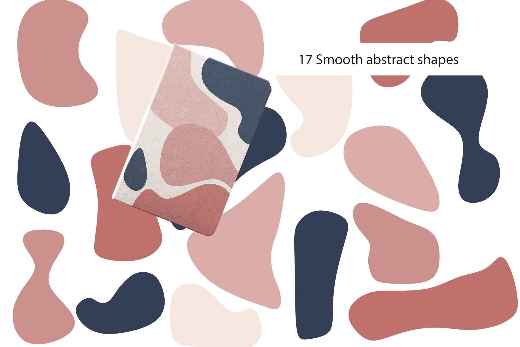 Abstract Collection CREAMY BlUSH & NAVY BLUE bundle prints example image 2