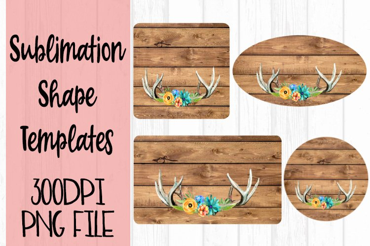 Antlers on Wood Sublimation Templates example image 1