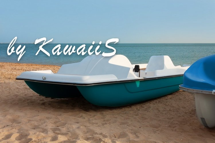 Colorful catamarans pedal boats on the sunset on a sea beach example image 4