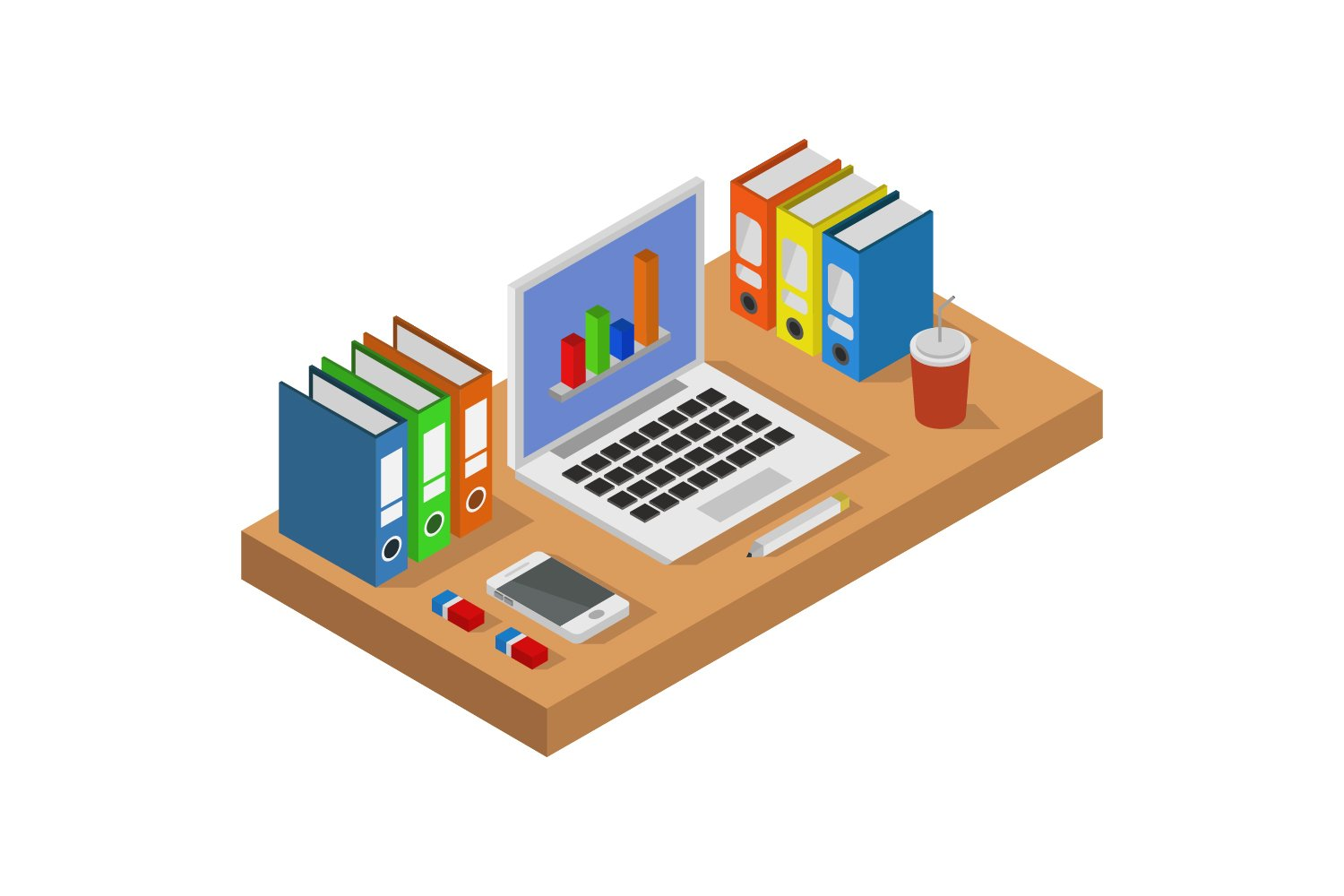 isometric office desk example image 1