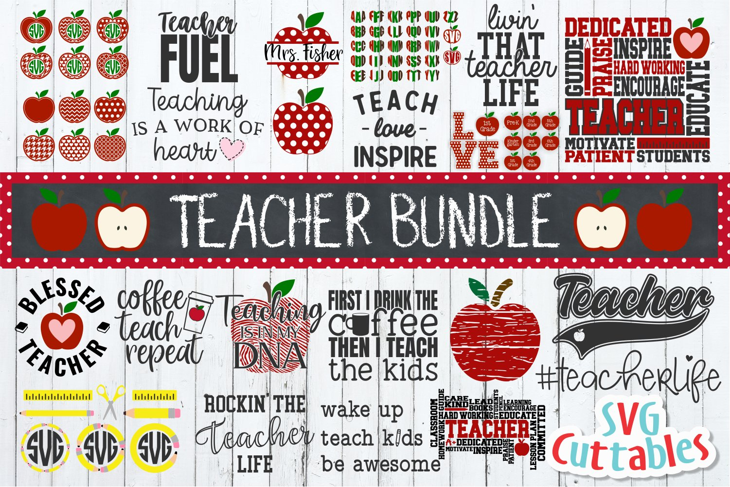 Teacher SVG Bundle| Apple Designs| SVG Cut Files